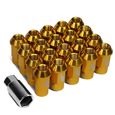 J2 Engineering LN-T7-008-15-GD Gold 7075 Aluminum M12X1.5 20Pcs L: 44mm Open End Lug Nut w/Socket Adapter: Automotive