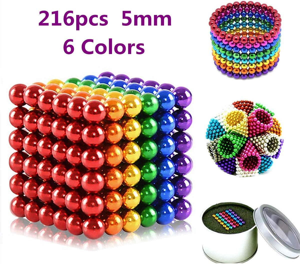 8 Colors Stress Relief /& Gift for Adults MICOSBVX 216 Pcs Magnets Sculpture Building Blocks Toys for Intelligence Learning