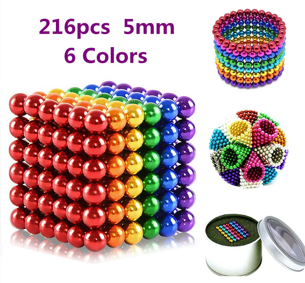 RITONS 216 Pieces 5MM Magnets DIY Toys Magnetic Sculpture Building Blocks Fidget Gadget Toys for Intelligence Learning -Office Toy & Stress Relief for Adults (6 Colors) by RITONS
