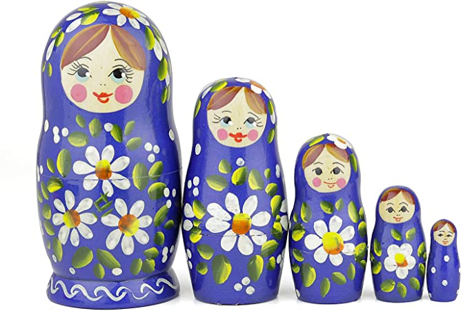 russian nesting doll Set Of 6 Hand made 6 inchs tall green US Seller