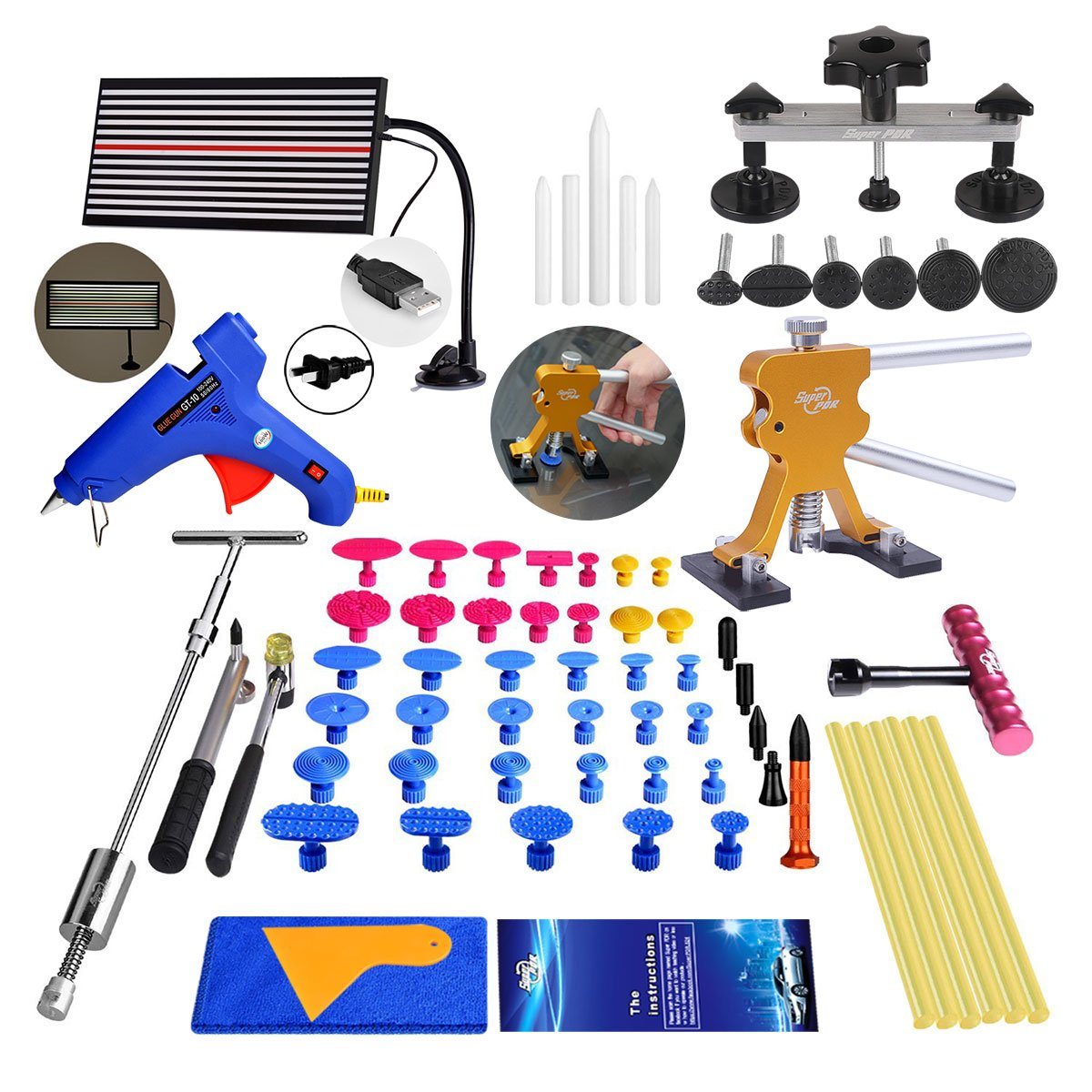 Super PDR 56Pcs Auto Car Paintless Dent Repair Tools kit - Dent Bridge Dent Puller Kit with Hot Melt Glue Gun Glue Sticks for Car Body Dent Repair