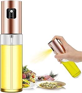 Olive Oil Sprayer Dispenser for Cooking, Food-Grade Glass Oil Sprayer Bottle, Olive Oil Sprayer for BBQ/Making (Rose Gold)