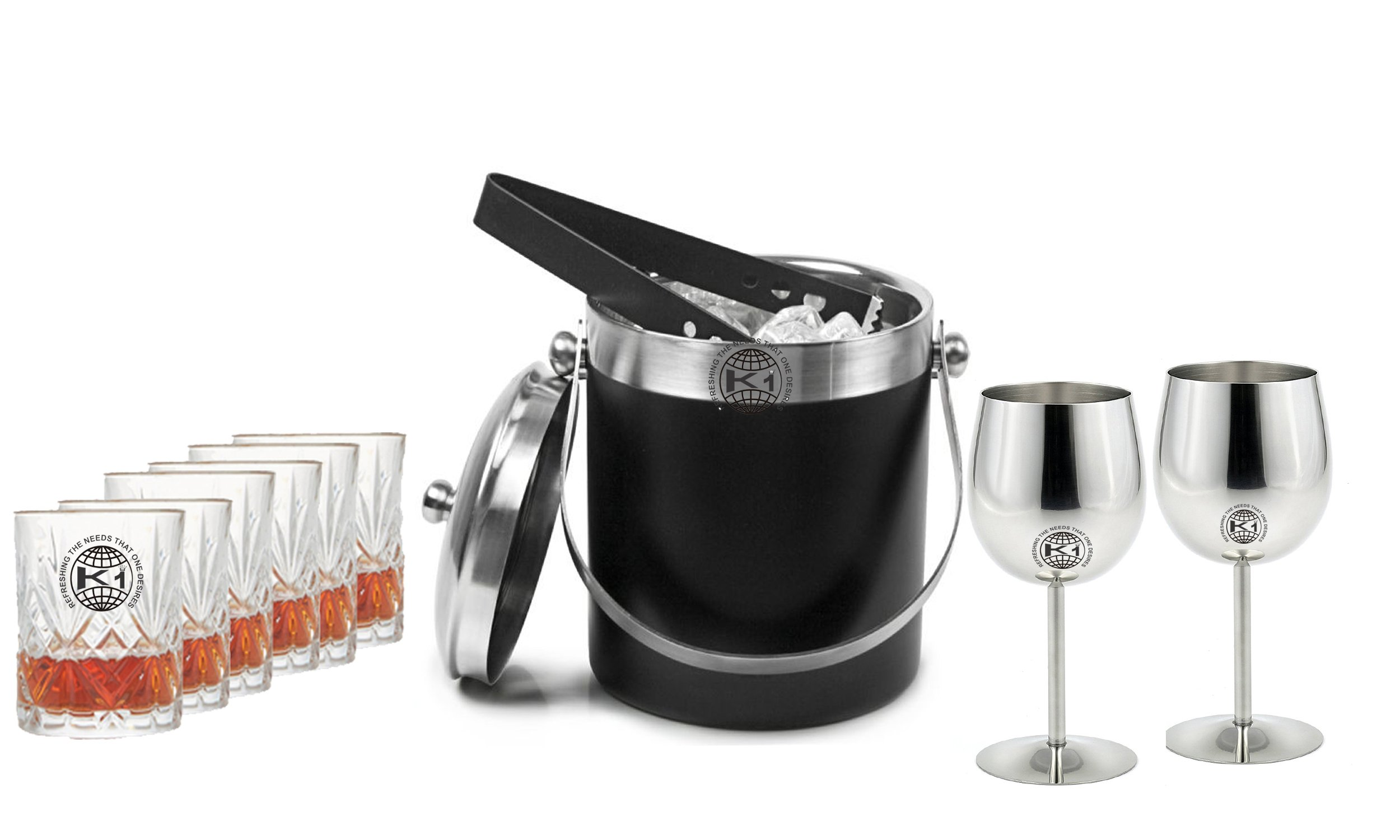 King International 100% Stainless Steel Black Bar Set | Bar Tools | Bar Accesories Of 10 Pieces Including 1 Ice Bucket | 1 Tong And 2 Goblet Glasses, 6 Whisky Glasses