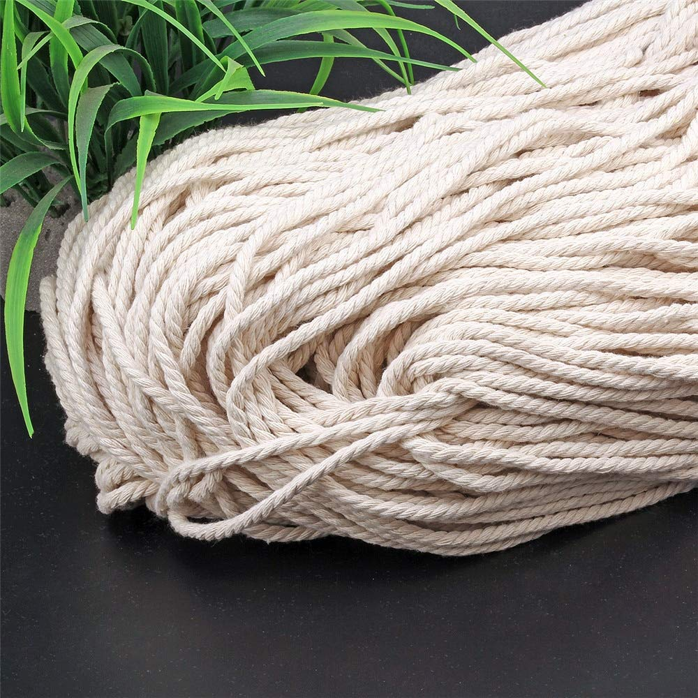 FINCOS Durable 6mmx140m Natural Beige White Macrame Cotton Twisted Cord Rope DIY Home Textile Accessories Craft &c - (Color: Beige) by FINCOS (Image #3)