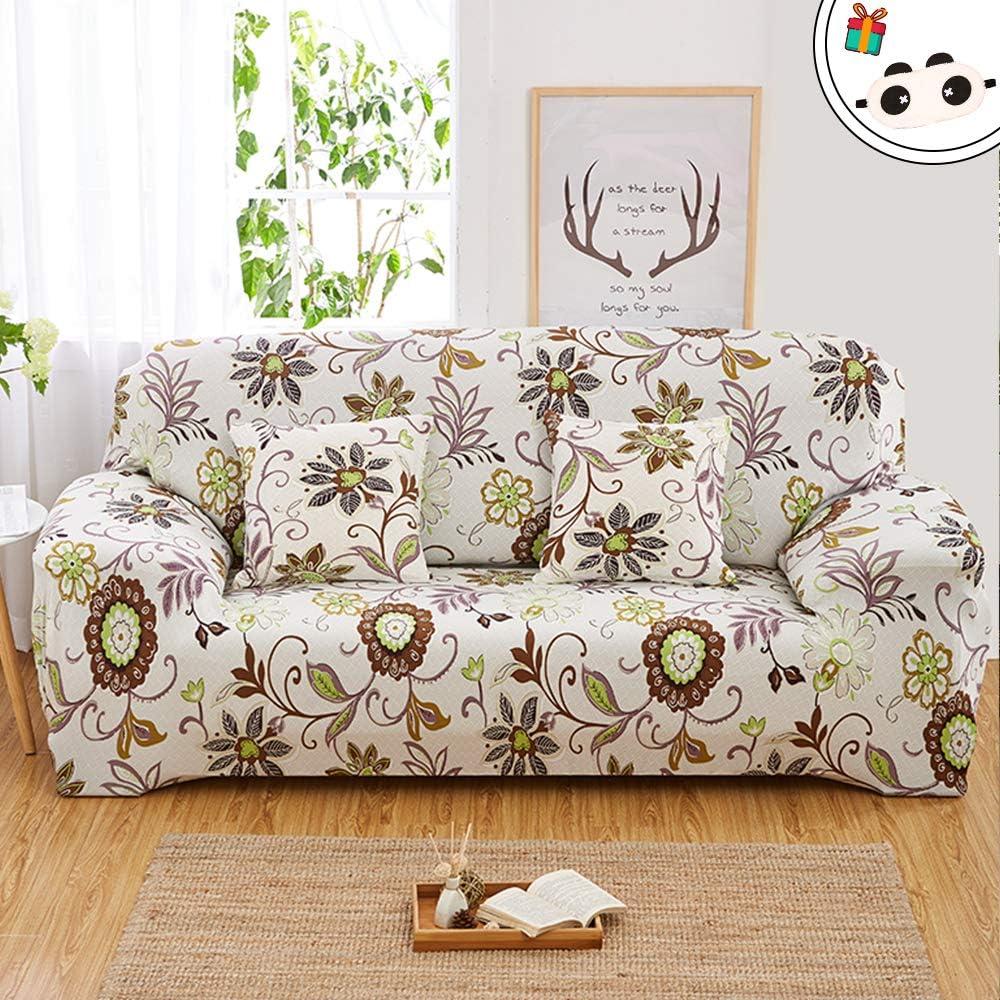 Enhome Funda para Sofá de 1 2 3 4 plazas, Universal Antideslizante Elástica Extensible Fabric Elegante Floral Impresa Protector Cubierta Cubre de Sofá Fundas (Planta Verde,2 Plazas)