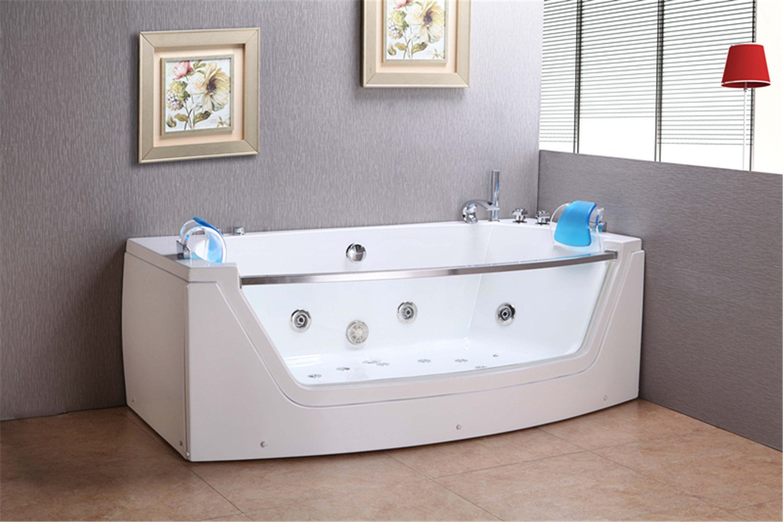 WHIRLPOOL JACUZZI SPA CORNER BATH DOUBLE PILLOW 180 x 90 cm BATHTUB ...