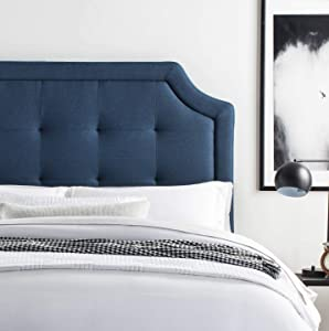 LUCID Bordered Upholstered Headboard with Square Tufting and Scalloped Edges for Full/Full XL Size Bed Frame (Cobalt)
