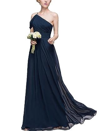 08089c802b BONBETE A Line Long Chiffon Navy One Shoulder Simple Bridesmaid Dresses  Wedding Party Dress