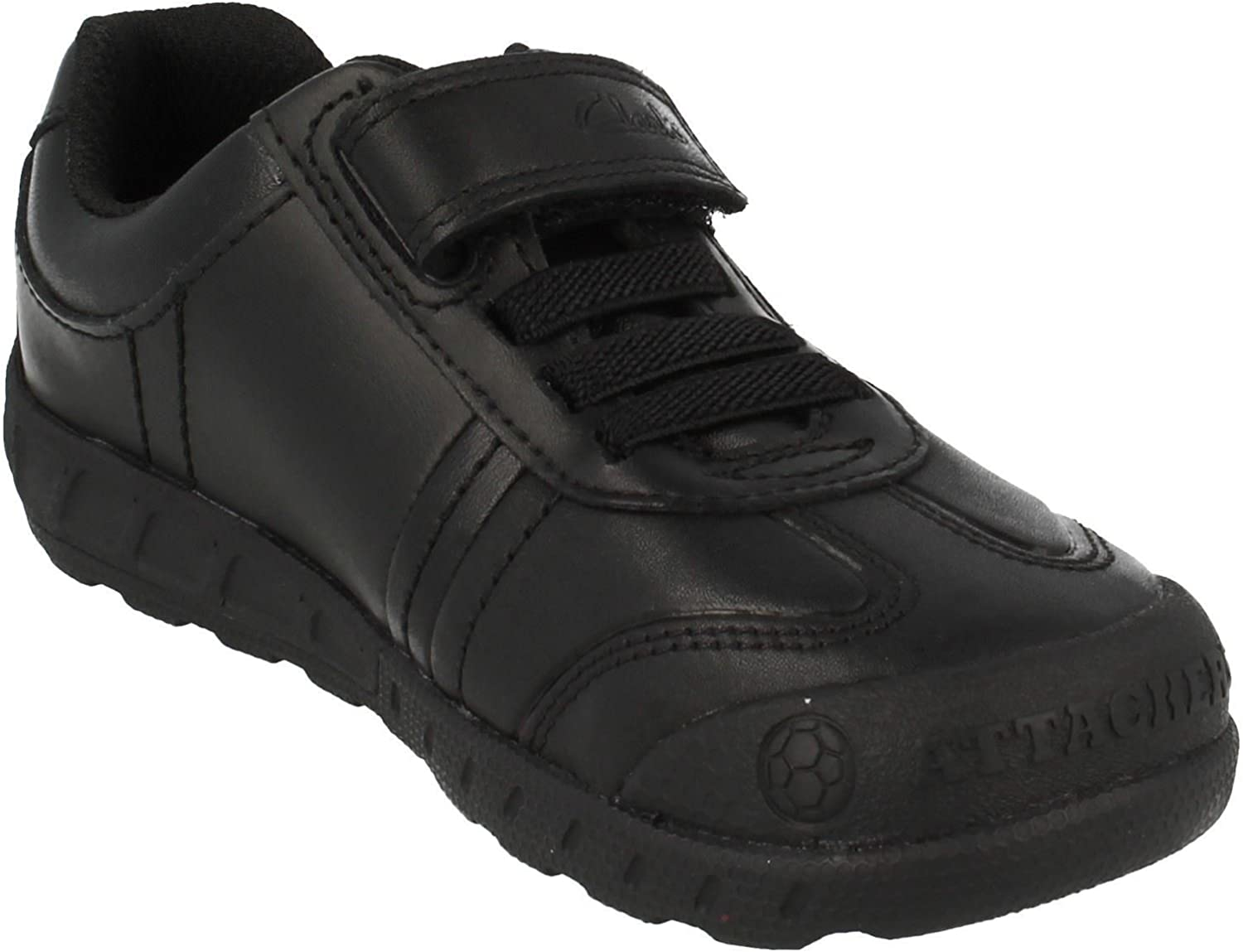 Clarks Leader Play Infant Leather Shoes In Black Extra Wide Fit Size 10