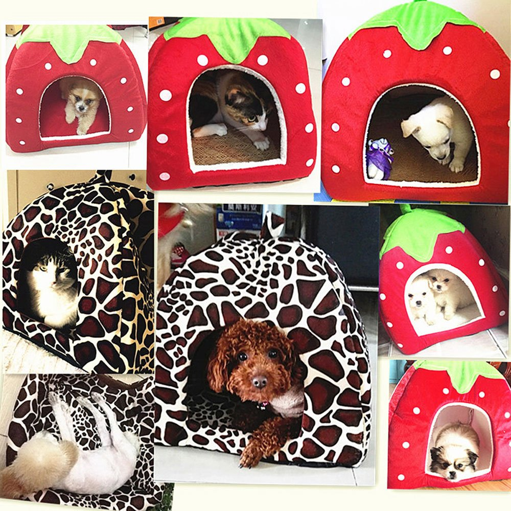 Daycount® Warm Soft Majestic Foldable Dog Cat Tent Bed Animal Cave Puppy Cute Pet Cat House 5 Sizes (Large, Strawberry) by Daycount® (Image #8)