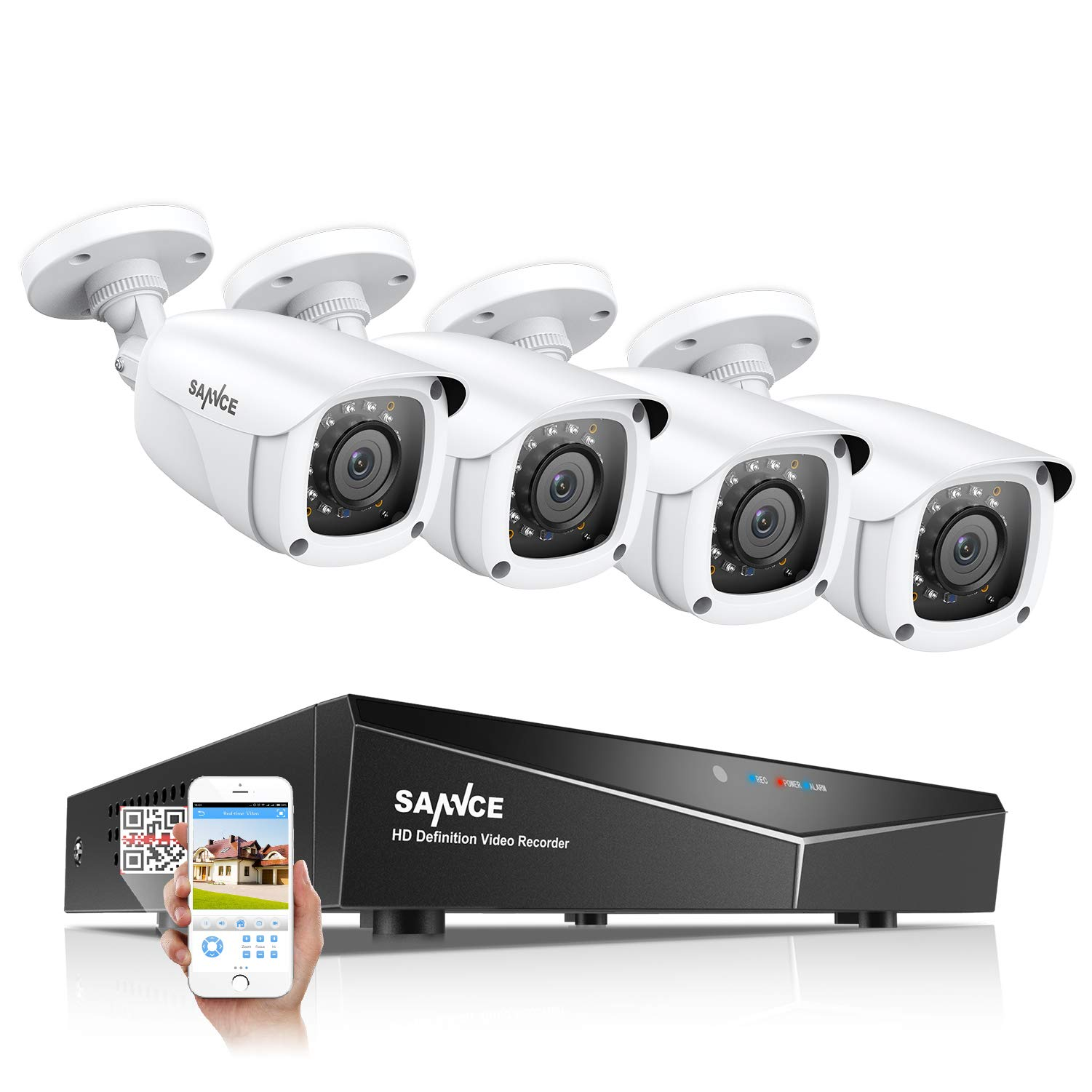 SANNCE 8CH 1080N Surveillance DVR System and (4) 720P 1.0MP HD-TVI Weatherproof CCTV Cameras, Infrared Superior Night Vision, P2P & QR Code Scan Remote Access, Security Wired Camera System (NO HDD) by SANNCE