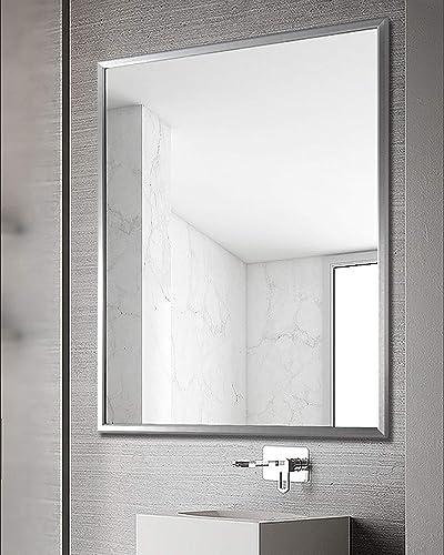 TinyTimes 23.6 31.5 Large Wall Mirror, Rectangular Metal Framed Mirror, Brushed Al-Alloy, 3D Bevel Framed, Home Decor, Hangs Horizontal or Vertical, for Vanity, Entryways, Bathroom, Bedroom-Sliver