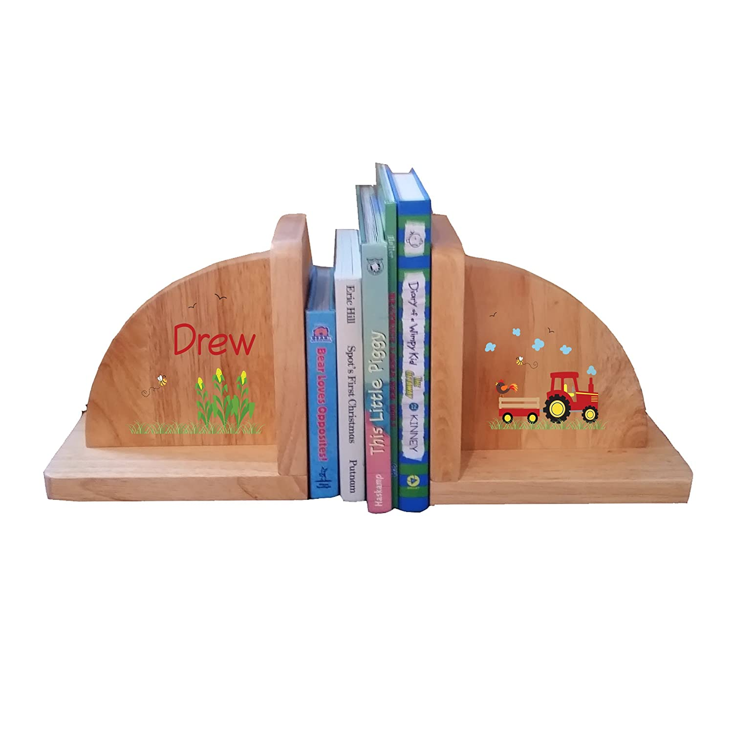 Personalized Red Tractor Natural Childrens Wooden Bookends MyBambino ENDS-nat-PT-211b