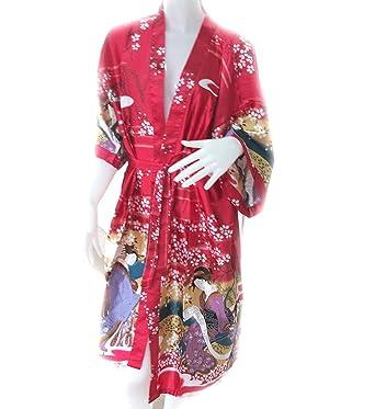 e629272c0180 100% Thai Silk Robe- Japanese Geisha Design- Scarlet Red Color at ...