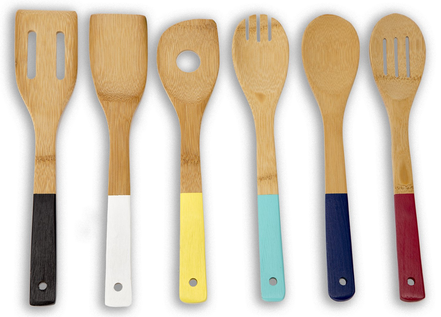 colorful kitchen utensils. Amazon.com: Home Basics Bamboo Cooking Utensils Set With Color Handles, 6-Piece: Kitchen \u0026 Dining Colorful