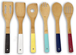 Home Basics Bamboo Cooking Utensils Set with Color Handles, 6-Piece