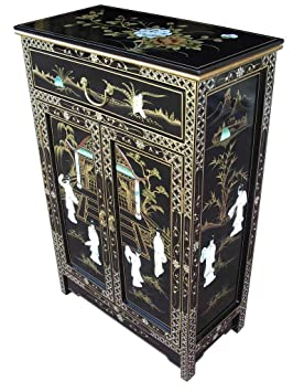 Oriental Chinese Furniture Black Lacquer Cabinet With Mother Of