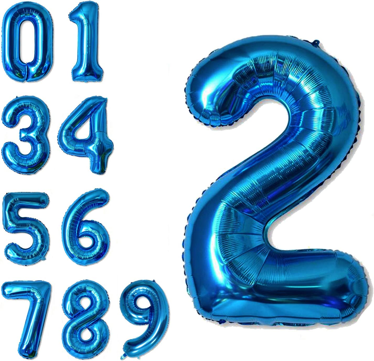 40 Inch Jumbo Blue Number 2 Balloon Giant Balloons Prom Balloons Helium Foil Mylar Huge Number Balloons for Birthday Party Decorations/Wedding/Anniversary