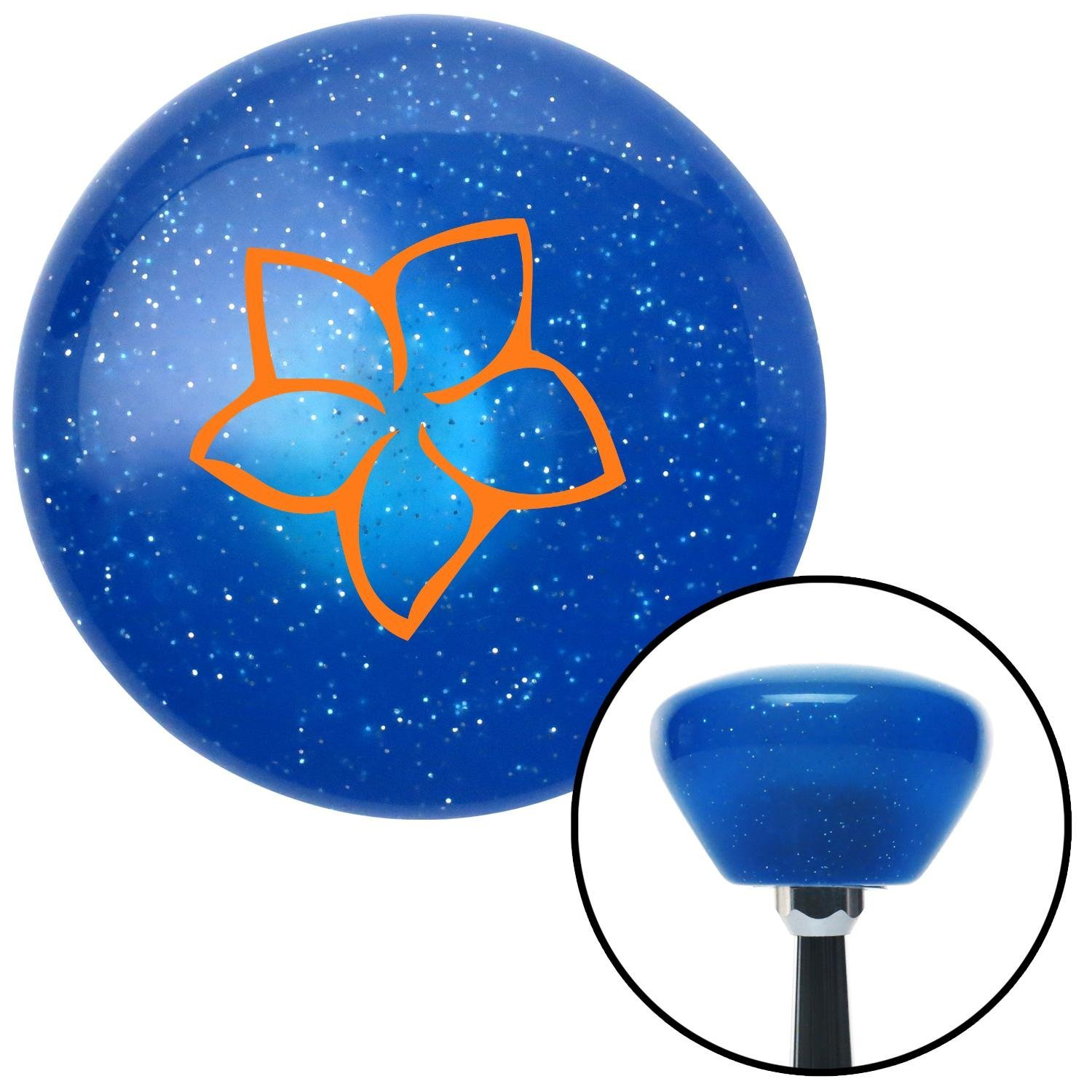 Orange Hawaiian Flower #10 American Shifter 189551 Blue Retro Metal Flake Shift Knob with M16 x 1.5 Insert
