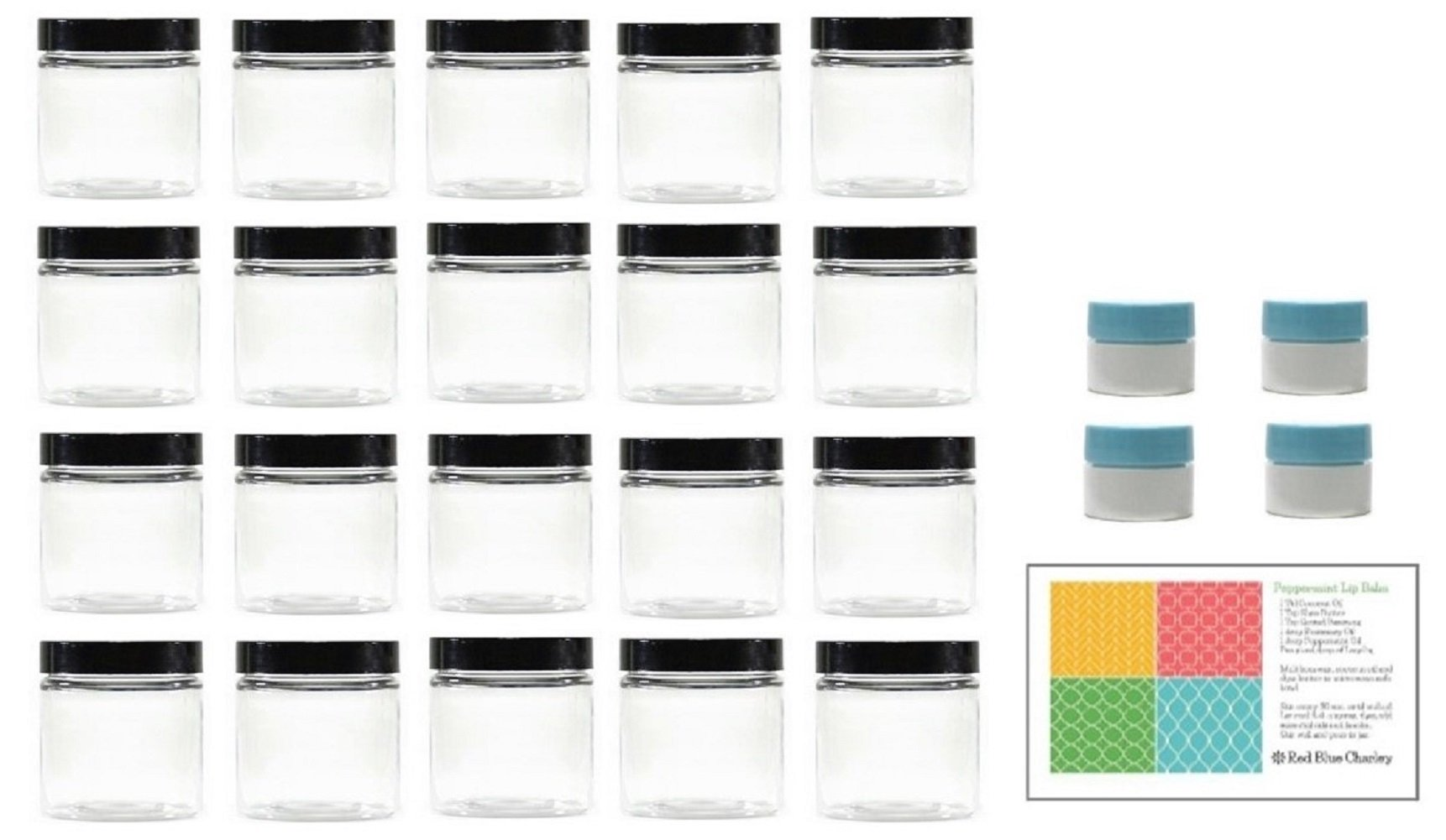 Clear 8 oz Plastic Jars with Black Lids (40 pk) with Mini Jars - PET Round Refillable Containers