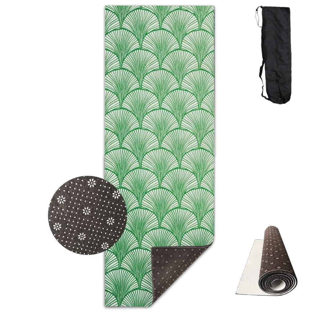 Green Ginkgo Biloba Premium Print Durable Concise Fun Printing Yoga Mat for Yoga, Workout, Fitness 72X24 Inch