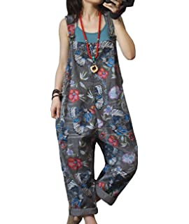 cb100e34b1a YESNO P15 Women Casual Loose Floral Rompers Jumpsuits Overalls 100% Cotton  Ripped Loose Waist Pocket