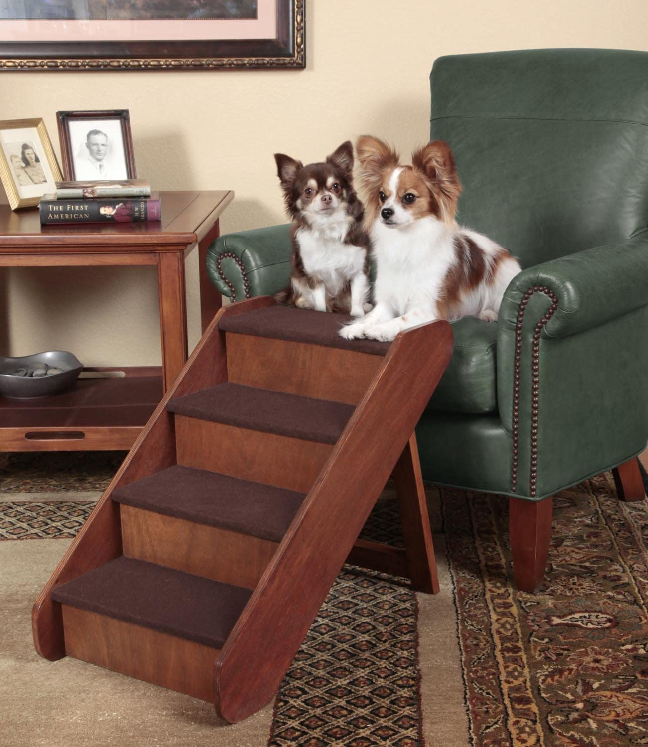 Side Rails and Non-Slip Feet Provide Added Security PetSafe CozyUp Folding Wood Pet Steps 25 inches PupSTEP Dog and Cat Stairs Lightweight Durable Wooden Frame Supports up to 200 lb