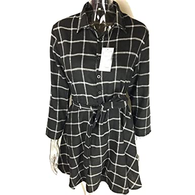 Best Annie New Spring Autumn Dress Women Plaid Turn-Down Collar Cotton Vestidos Casual Tunic Shirt Dresses Office Dress at Amazon Womens Clothing store: