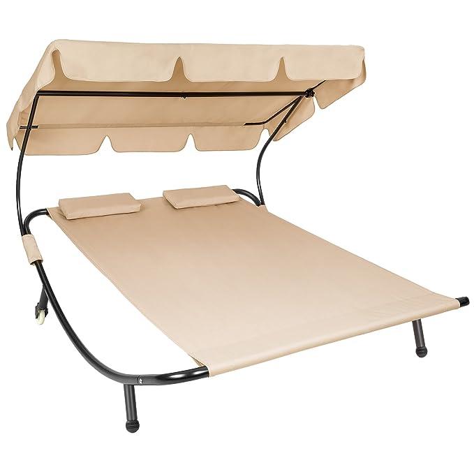 TecTake Tumbona de jardín con parasol y 2 cojines | 2 plazas | diferentes colores (Beige | no. 401223): Amazon.es: Hogar