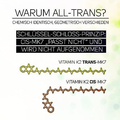 Vitamina D3 5,000 IU + Vitamina K2 Menaquinona MK7 200 ?g - 99,99% de forma trans - Contenido de Cis 0% - Polvo vegano 365 porciones sin cápsulas