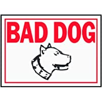 """Hy-Ko Products SS-11 Bad Dog Aluminum Sign, 10"""" x 14"""", Red/White"""