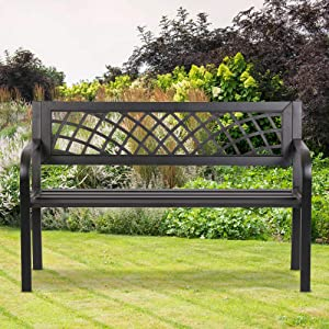 Park Benches for Outside Cast Iron Outdoor Bench Metal Garden Benches for Outdoors Patio Bench Ends 480LBS Weight Capacity, for Park Yard Patio Deck Lawn, Black