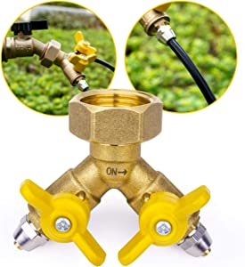 HOMENOTE 3/4'' to 1/4'' Garden Hose Splitter Connector, 2 Way Y Drip Tubing Irrigation Adapter for 1/4'' Tubing, Solid Brass Valve Adapter Converts 3/4'' Female Hose Thread Bib to 1/4'' Tubing