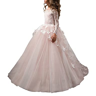 cfcfd0f85e Abaowedding Flower Girls  Butterflies Long Sleeve First Communion Princess  Dress Size 2 Pink