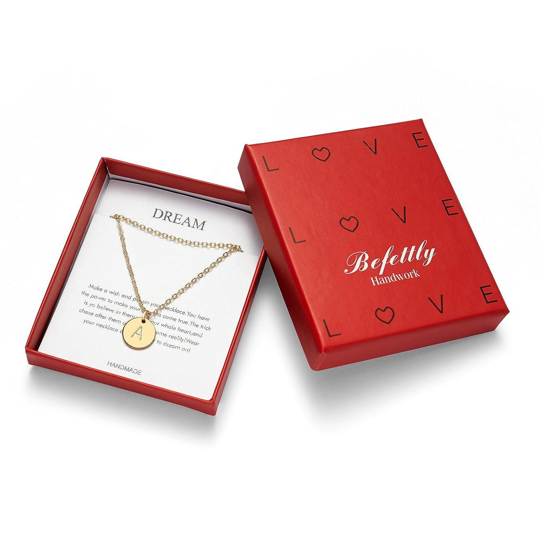Befettly - Colgante con Colgante de Inicial Chapado en Oro de 14 Quilates, Doble Cara, Gargantilla Martillado, Ajustable de 41,9 cm, diseño de Letras del ...