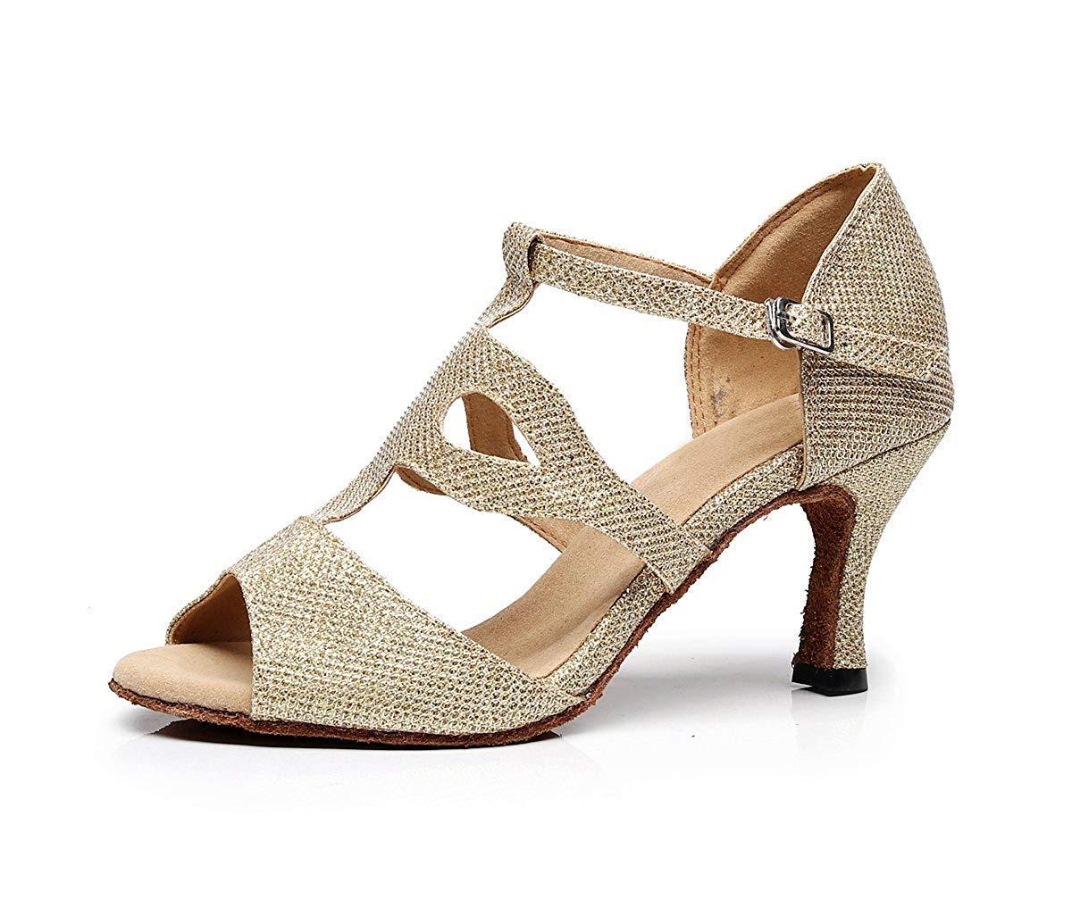 Fuxitoggo TJ7135 Damen Mädchen T-Strap Glitter Salsa Latin Dancing Sandalen (Farbe   Gold-7.5cm Heel Größe   6 UK)