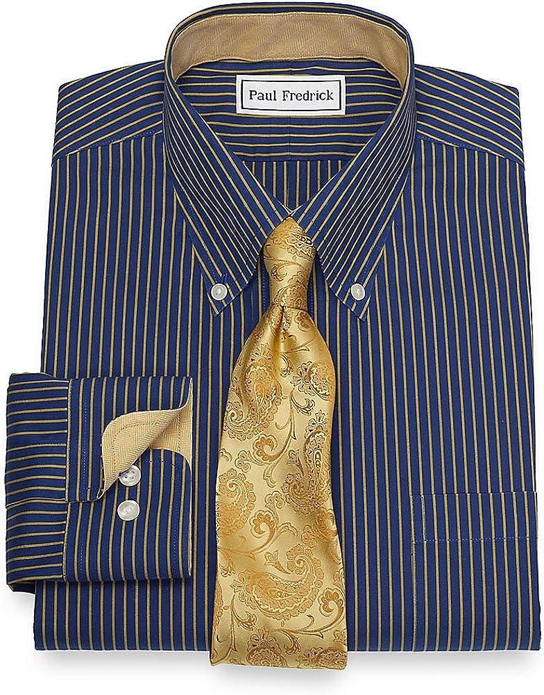Paul Fredrick Mens Non-Iron Cotton Stripe Button Cuff Dress Shirt