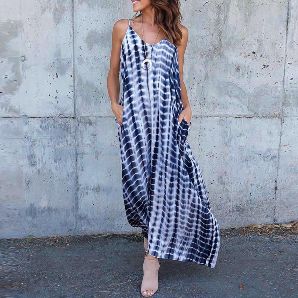 Women Cami Long Maxi Dress Stripe Wave Deep V Low Cut Summer Beach Sundress Loose asual Pockets Skirt