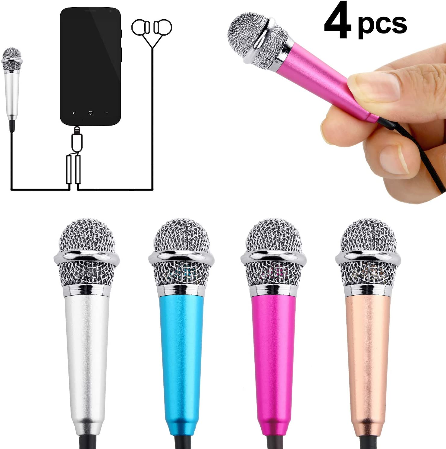 4 Pieces Mini Microphone Portable Vocal Microphone Mini Karaoke Microphone for Mobile Phone Laptop Notebook, 4 Colors
