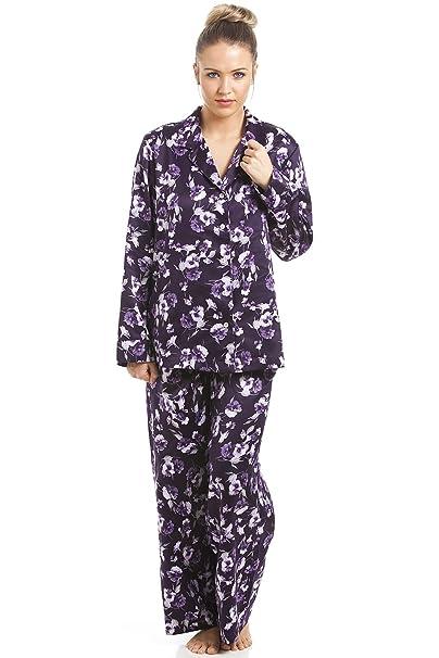 Camille - Conjunto de pijama satinado para mujer - Estampado floral Morado: Amazon.es: Ropa y accesorios