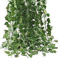 نباتات ورق اللبلاب الاصطناعي، 12 جديلة 87 قدمًا للبيت والمطبخ والحديقة والمكتب وحفلات الزفاف