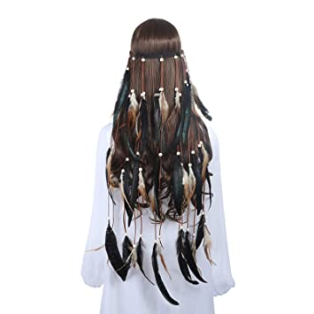 2e4ca5d968c Amazon.com   Hippie Feather Headband Boho Headdress - AWAYTR Feather Crown  Elastic Gypsy Festival Headband Indian Hair Accessories (Green+black)    Beauty