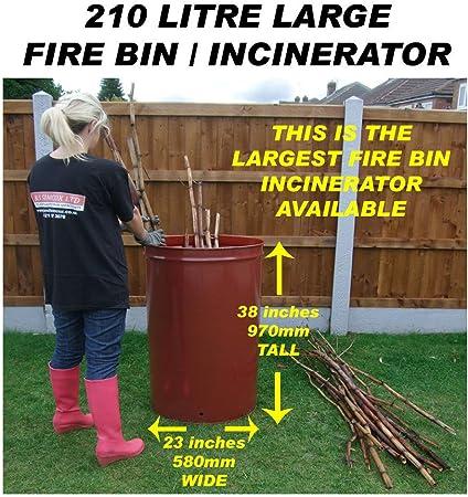 210 litros incinerador Tamaño Grande GARDEN/Burne (cese originales): Amazon.es: Jardín