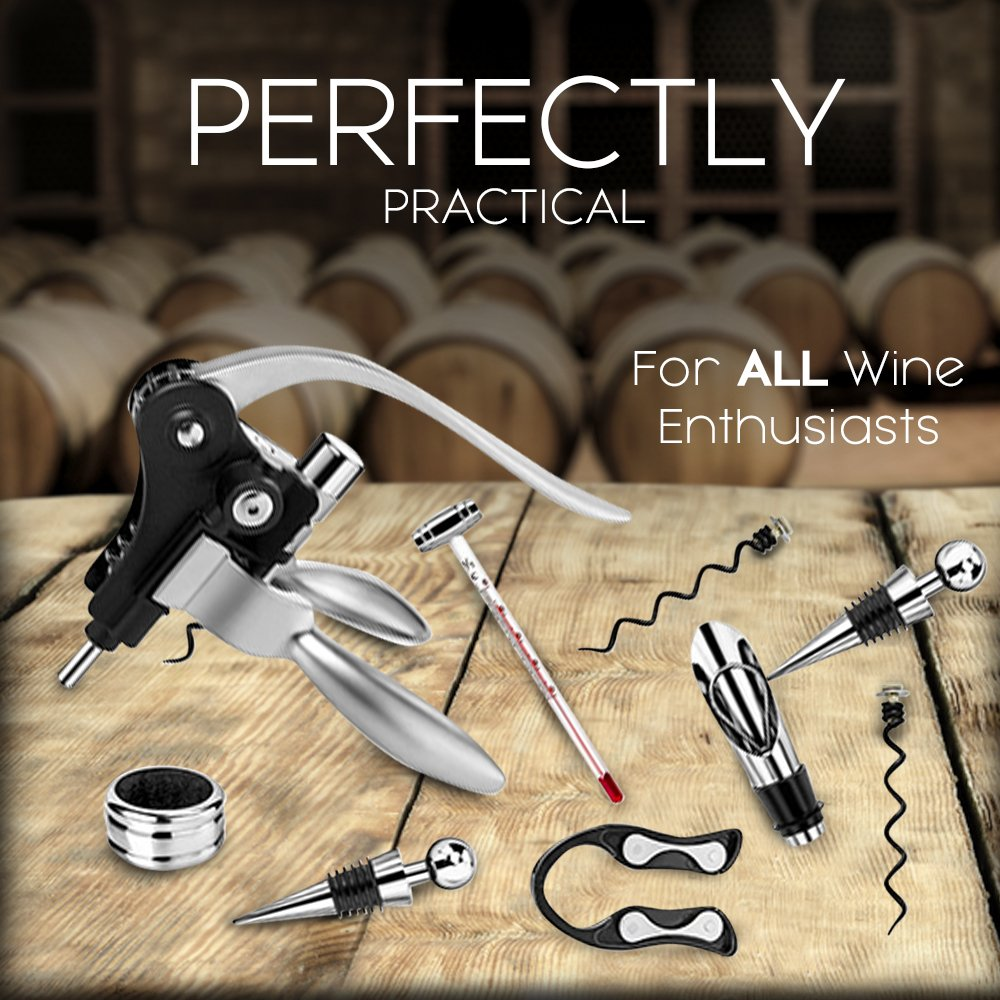 Vintage Collection Lever Wine Opener & Foil Cutter and 9 Piece Accessories Set, Open Wine With Ease Like a Pro, Everything You'll Ever Need in a Deluxe Wooden Box – Great Wine Lovers Gift for Any Occa by Vintage Collection (Image #3)