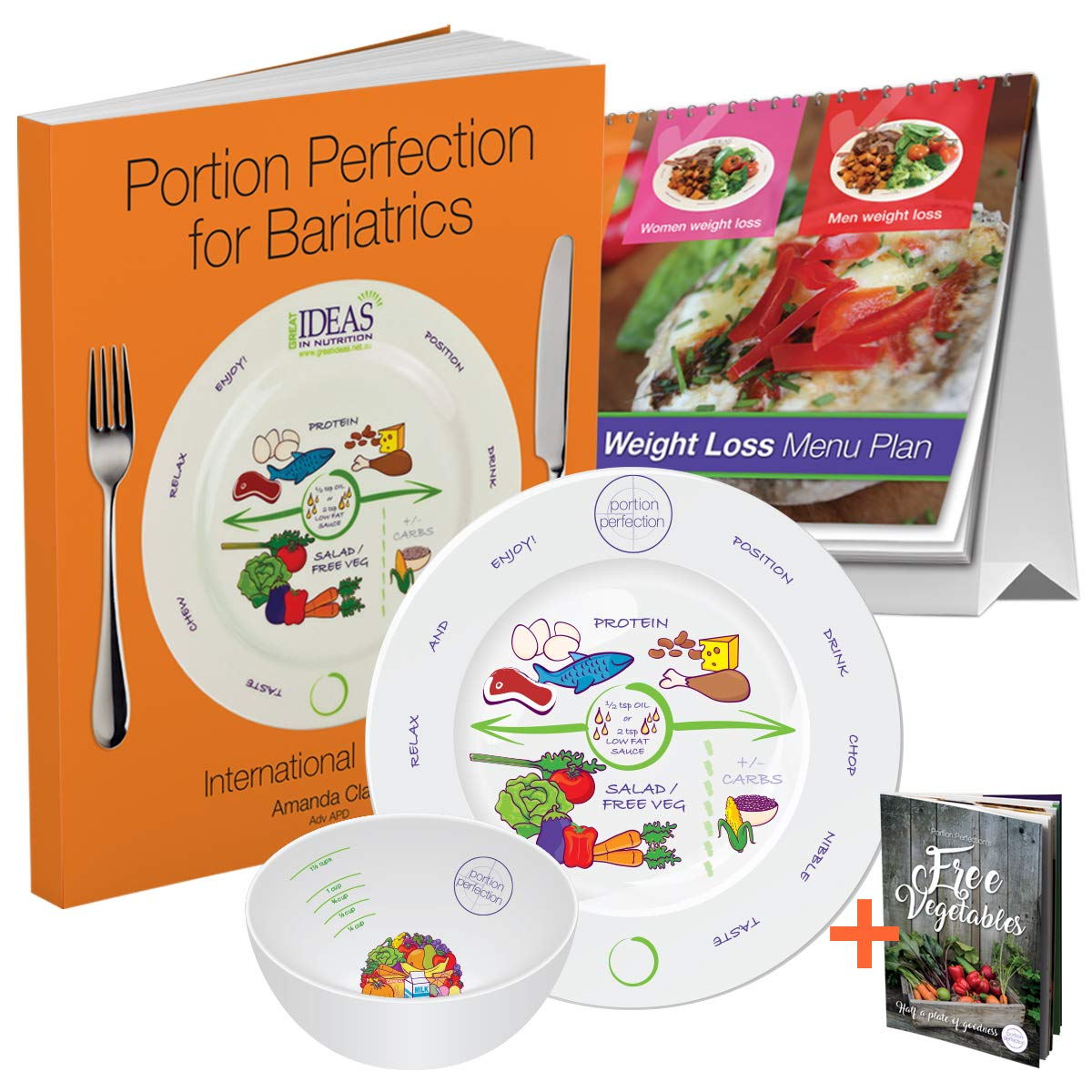Bariatric Cookbook Surgery Weight Loss Program Kit Easy Tools for Portion Control Dieting After Sleeve Gastrectomy, Gastric Bypass, Balloon & Banding & Free Bonus Vegetable Cookbook by Portion Perfection (Image #1)