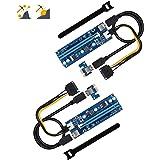 Bermunavy PCI-E ライザー 1x to 16x エクステンダーカード アダプターカード USB 3.0 60cm延長ケーブル ビットコイン採掘 6pin PCI-E とSATAケーブル (2個セット)