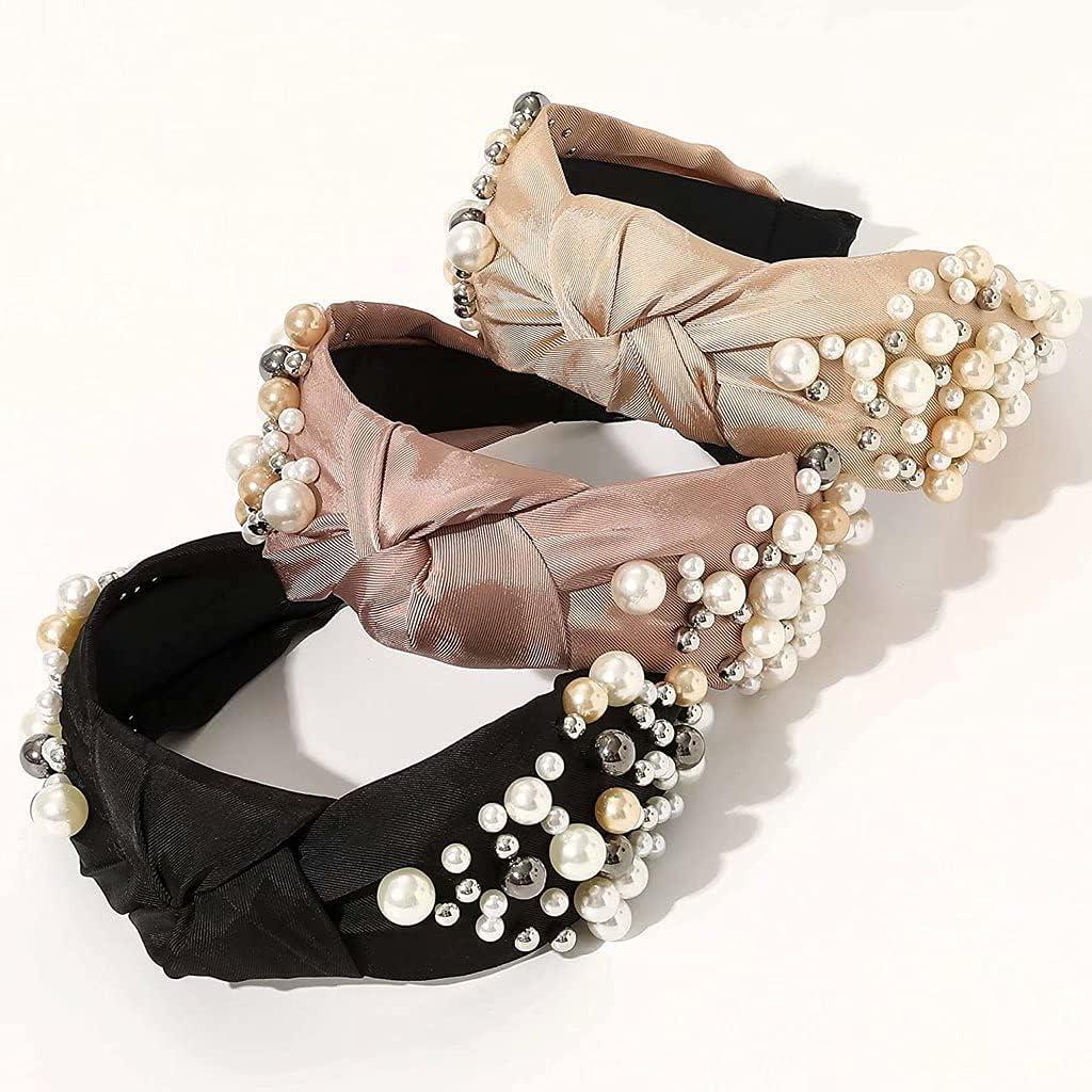 YLJJ Paquete de 3 Cintas para la Cabeza para Mujeres - Diadema con Perlas anudadas, Accesorios para el Cabello, Diademas para niñas, sin Deslizamiento, a la Moda, con Bonito Nudo Superior