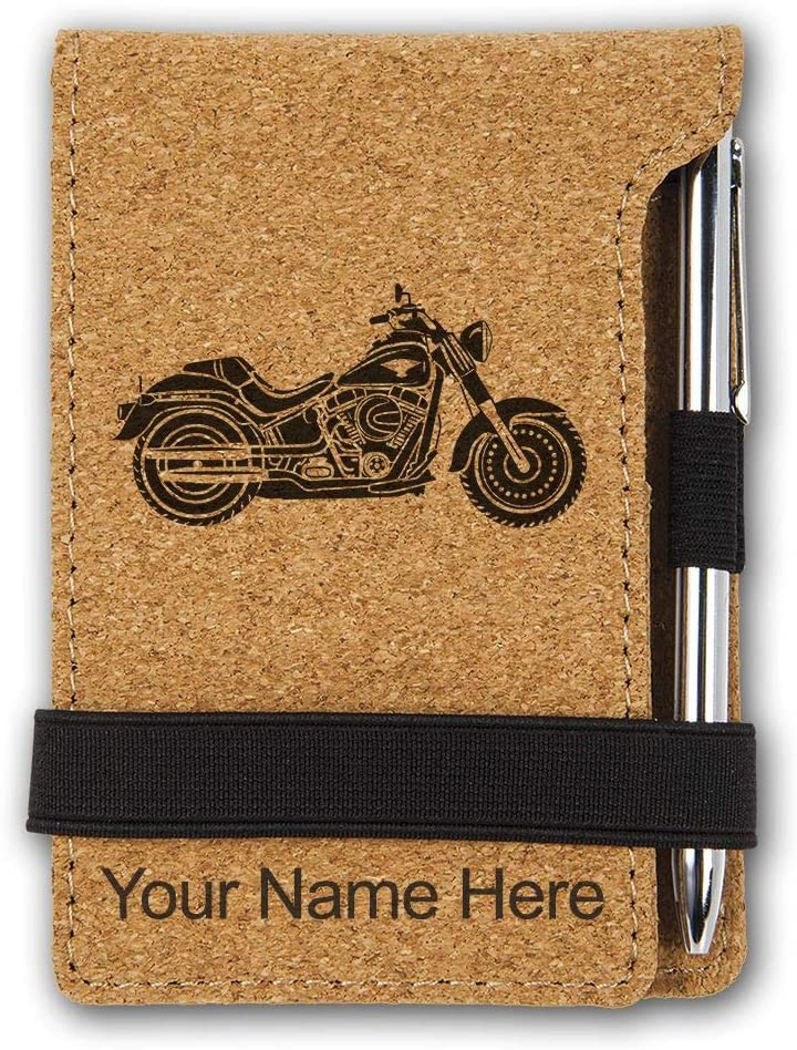 Mini Notepad Black with Gold Personalized Engraving Included Motorcycle