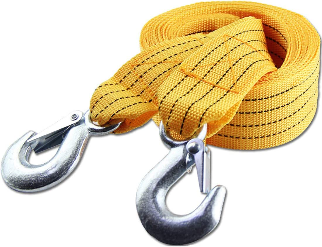 U-type JMAHM Towing Ropes Car Rescue Rope High Strength Heavy Duty Winch Strap with Two Safety Hooks