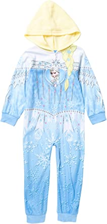 Disney Frozen Girls Jeweled Elsa Hooded 1-Piece Pajamas
